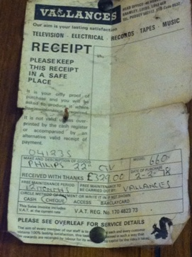 1978 shopping receipt