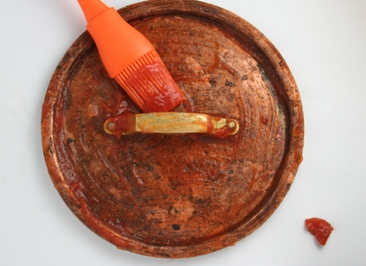 clean copper with tomato ketchup