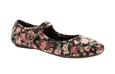 Black Flat Shoes Women on Black Floral Print Bar Casual Flat Shoes