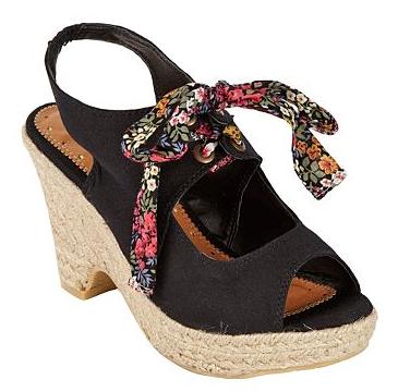 Black tie front espadrille wedge shoes - Debenhams shoe sale