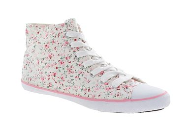 Pink floral lace up canvas hi top pumps - Debenhams shoe sale