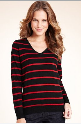 Cashmilon™ V-Neck Striped Jumper - Marks & Spencer