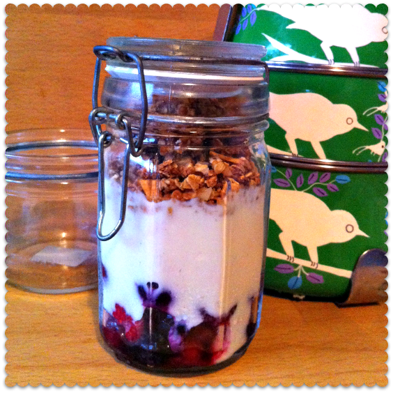 granola in jam jar