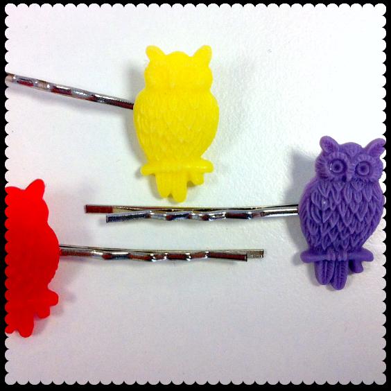 cherry baby owl hair grips
