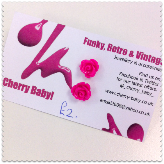 cherry baby rose earrings