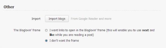 Bloglovin frame