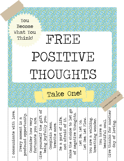 free positive thoughts poster
