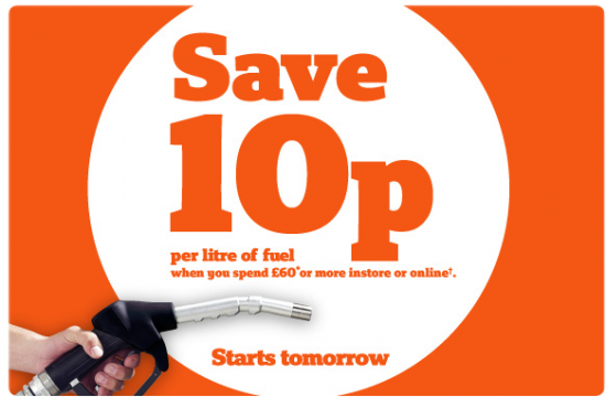 sainsburys 10p off litre of fuel