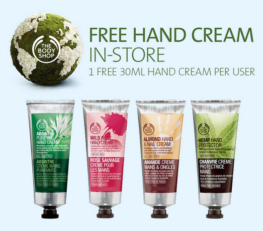 coupon for free hand cream from the body shop
