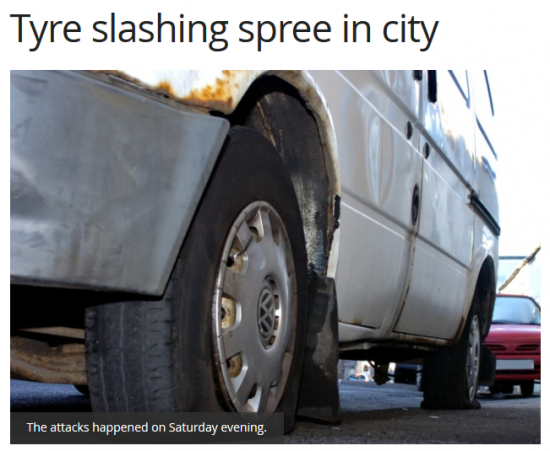 tyre slashing spree