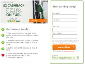 top cashback fuel deal